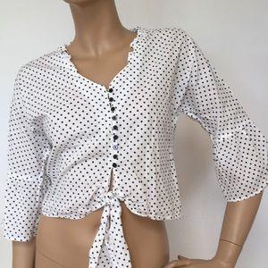 Girl Krazy Cotton Polka Dot Crop Top Blouse M NEW